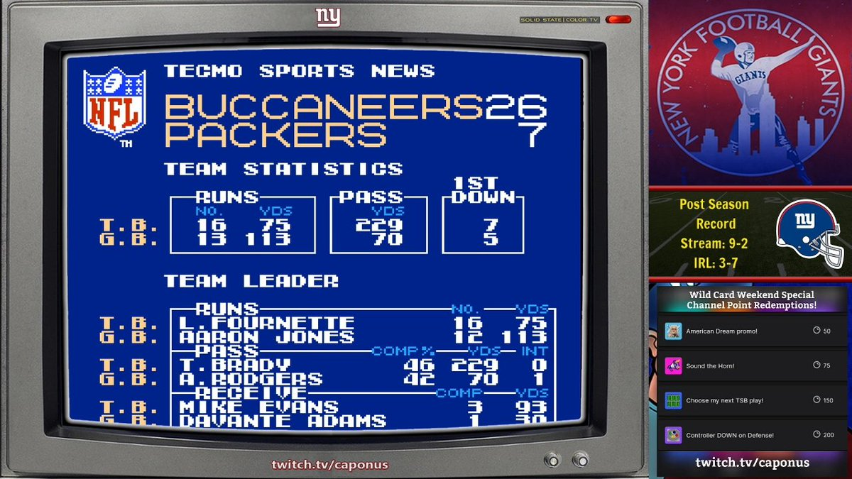Split outcomes for me playing as the underdogs in the AFC/NFC Championship Prediction Stream: Bucs win, Bills lose!   Post Season record is 9-3 on stream, 3-7 IRL for the games played so far.  Watch the VOD   #TecmoSuperBowl #NFLPlayoffs #TBvsGB #BUFvsKC