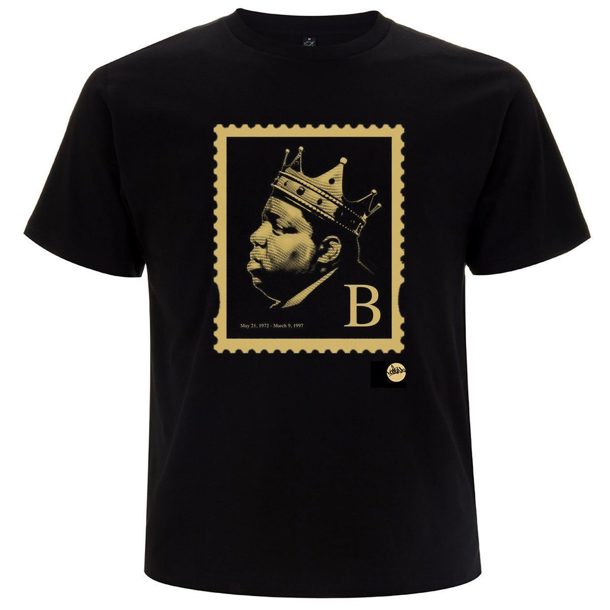 FRESH STOCK! The illest... the Biggie B' Stamp TShirt by @madina_design order here >>  <<  #hiphop #stamp #stamps #summer #biggie #biggiesmalls #theillest #brooklyn #bedstuy #notorious #clothing #fashion #streetwear #blackandgold RT
