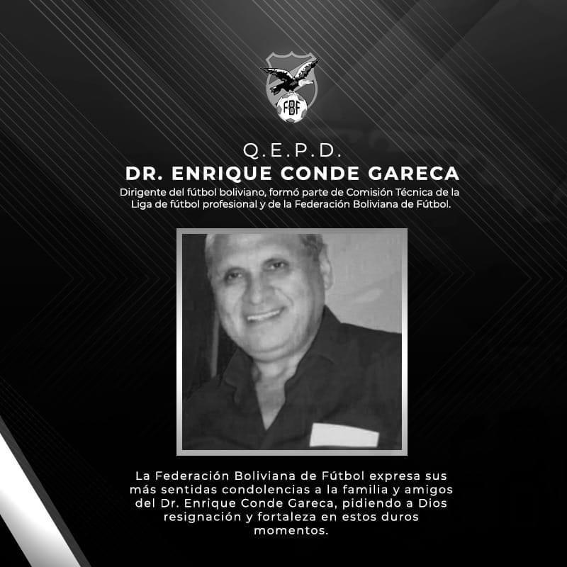 #Luto La #FBF lamenta comunicar el sensible fallecimiento del Dr. Enrique Conde miembro de la comisión técnica de la ex #LPFB.