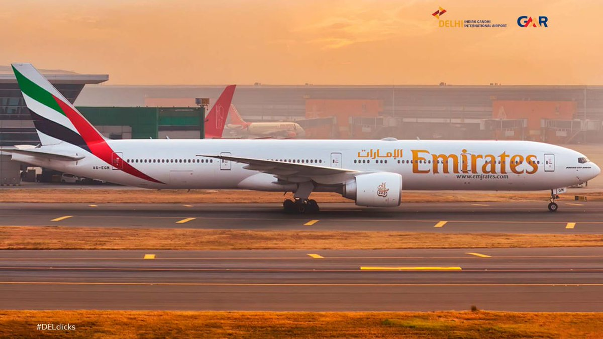 A rare delight at the #DelhiAirport with @emirates @boeing 777 doubling up the winter morning fire sky, perfectly captured by touchdownimages (on Instagram) #DELclicks.