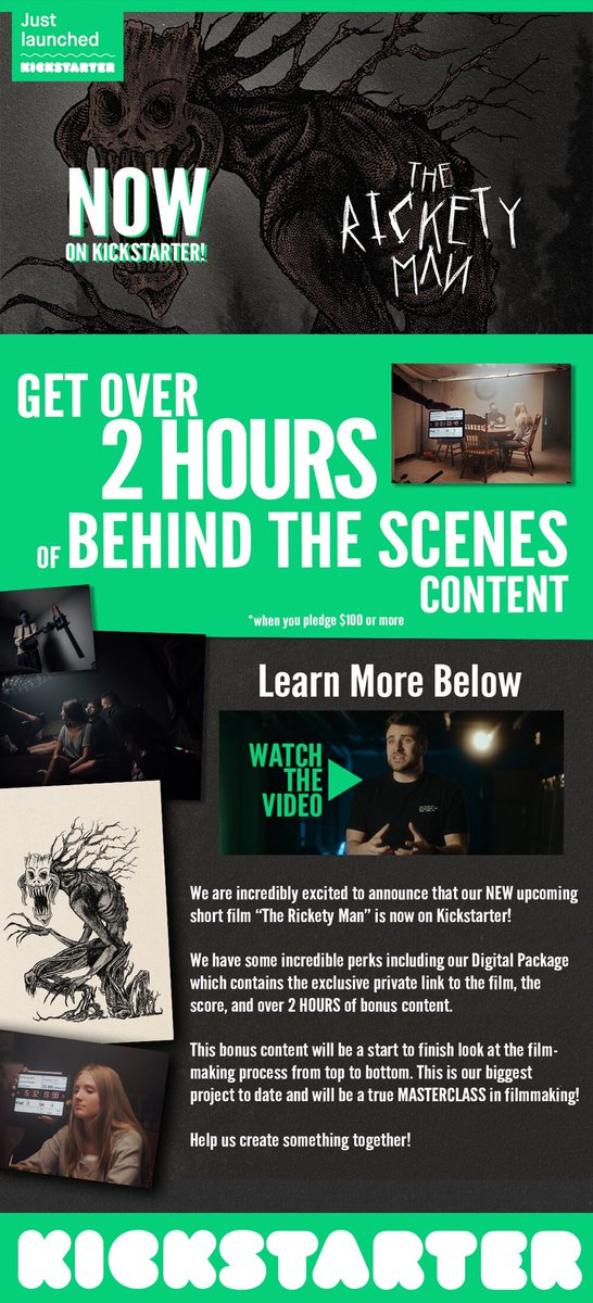 Help THE RICKETY MAN make $8k by end of the weekend! The behind-the-scenes content is going to be a master class in making a high-production/low-budget project during covid!    #BehindtheScenes #FilmTwitter #HorrorFamily  #HorrorMovie #HorrorCommunity