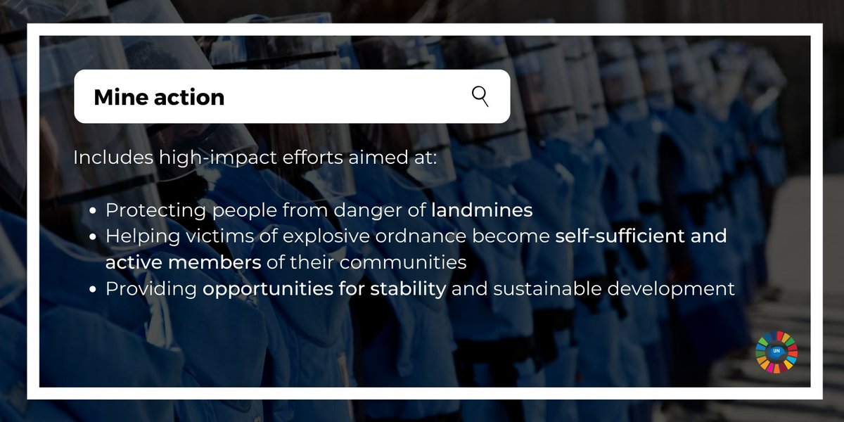Explosive ordnance and landmines pose great risks for the communities we serve. 💥 #Mineaction is an integral component of our mandates and is essential to protecting the lives of civilians.   More on mine action in peacekeeping from @UNMAS :  #A4P