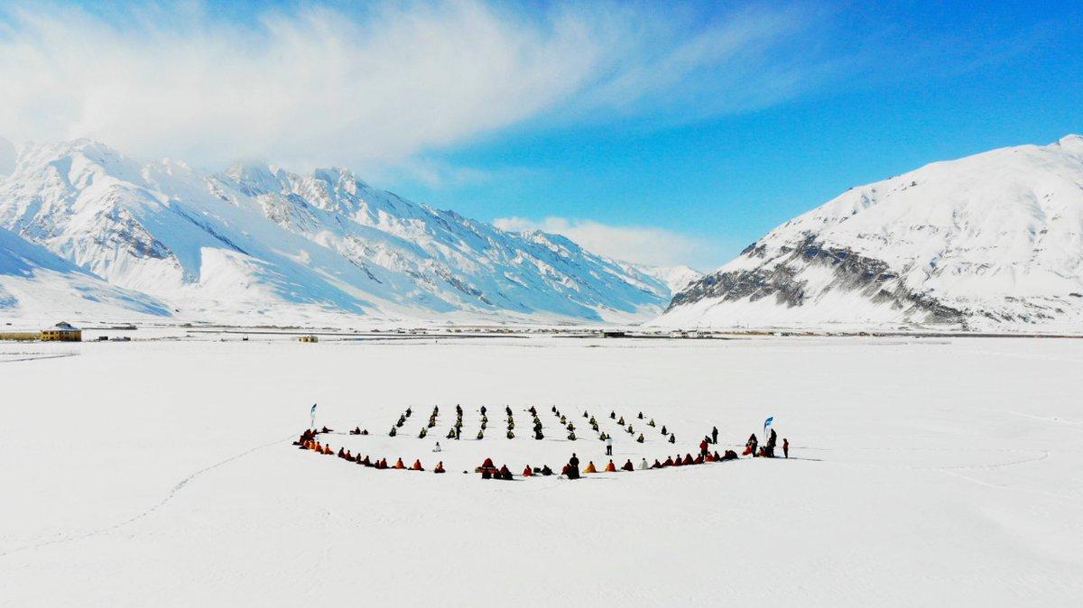 1st ever Yoga & Meditation on snow held in Zanskar as a part of Khelo India- Zanskar Winter Sports & Youth Festival 2021 led by H.E. Ngor Ponlop Rinpoche.  @DalaiLama @KirenRijiju @IndiaSports @moayush @prahladspatel @tourismgoi @MinOfCultureGoI @tourismgoi @PMOIndia @AmitShah
