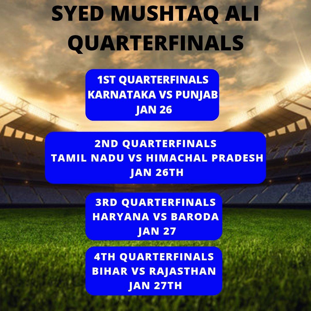 #SyedMushtaqAliTrophy #Cricket   Syed Mushtaq Ali Quarterfinals schedule.