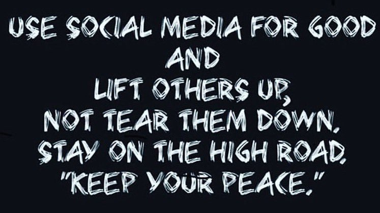 """— """"Use #socialmedia for good and lift others up, not tear them down. Stay on the high road."""" Keep your peace! — Germany Kent #PositiveVibes #influence #quote via @elaine_perry #ThinkBIGSundayWithMarsha"""