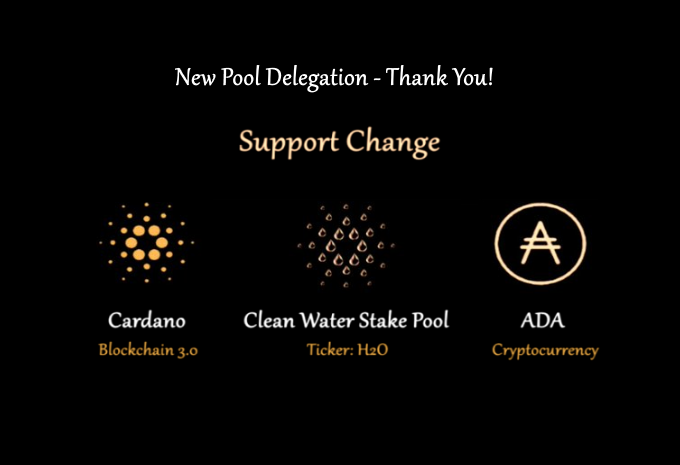 _  𝗧𝗵𝗮𝗻𝗸 𝗬𝗼𝘂 to Our New Delegator!  Just over a month old w/1m+ delegated, and 3.2m $ADA incoming via @InputOutputHK - just produced our 3rd block!  > Clean Water Stake Pool donates 25% of profits to #NGO clean water initiatives.  #SupportChange #Cardano #CleanWater #H2O