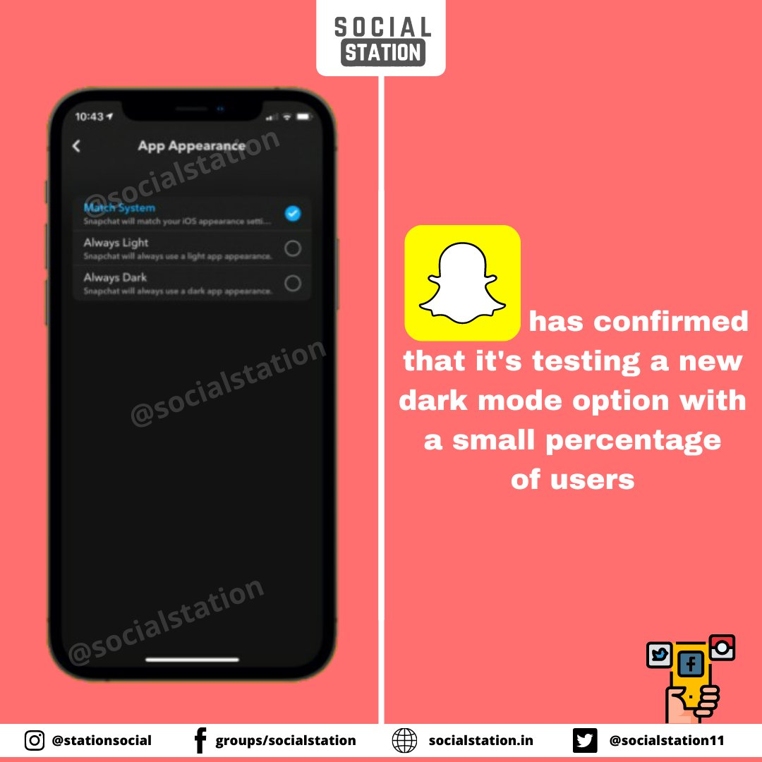For those that have the dark mode option available, there's a new 'App appearance' section within your app settings. @Snapchat #snapchat #snapchatfilter #snapchatadd #SocialMedia