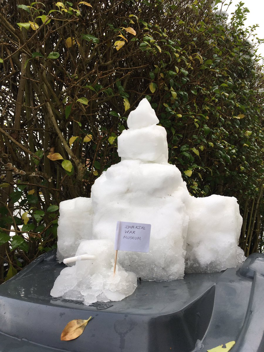 Snow Sculpture of Imperial War Museum #Snowing #snow #sundayvibes @I_W_M