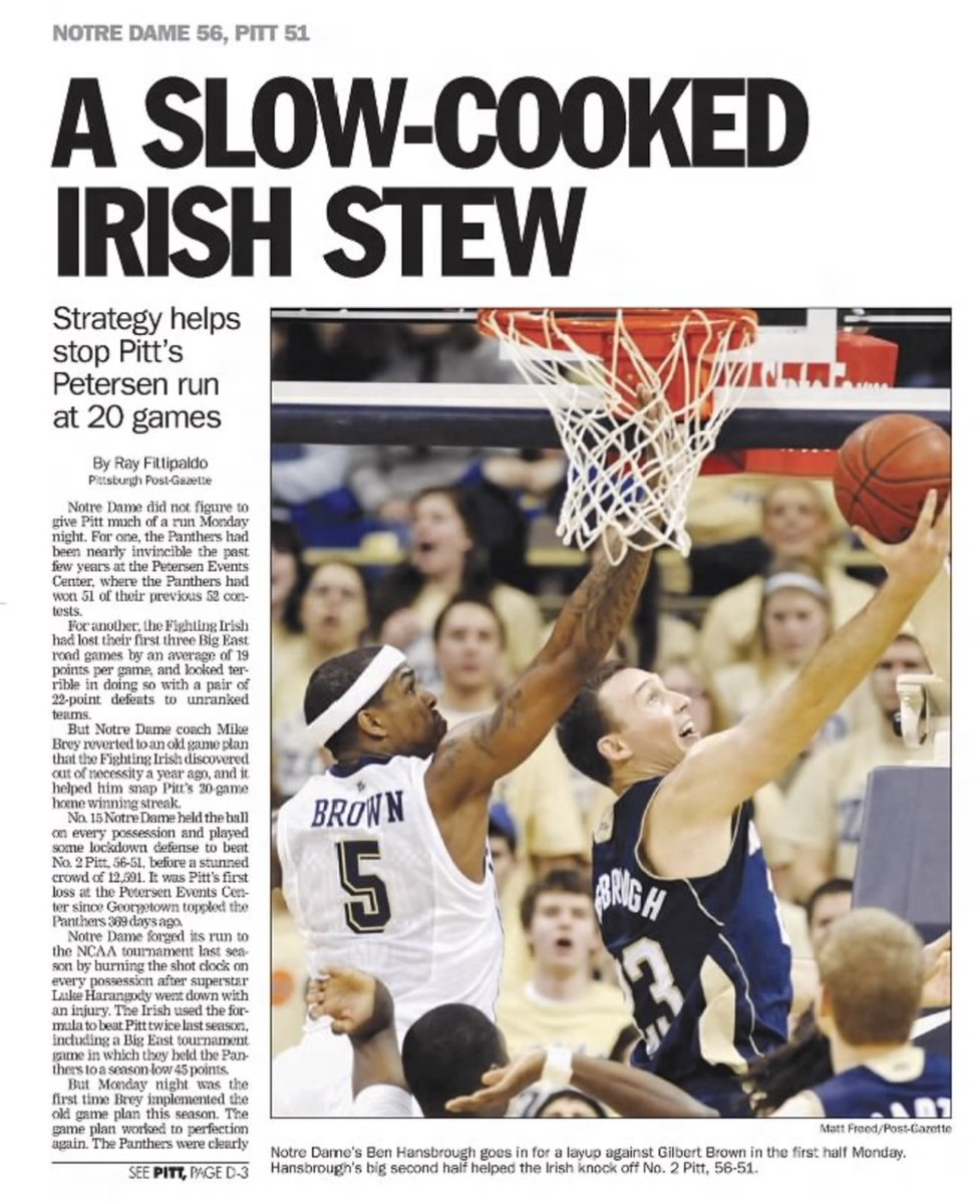10 years ago (1/24/11): Notre Dame beats #Pitt, 56-51. #H2P