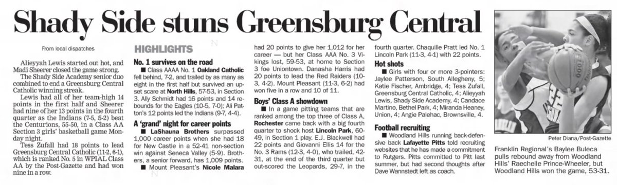 10 years ago (1/24/11): Shady Side Academy beats Greensburg Central Catholic, 55-50. #WPIAL
