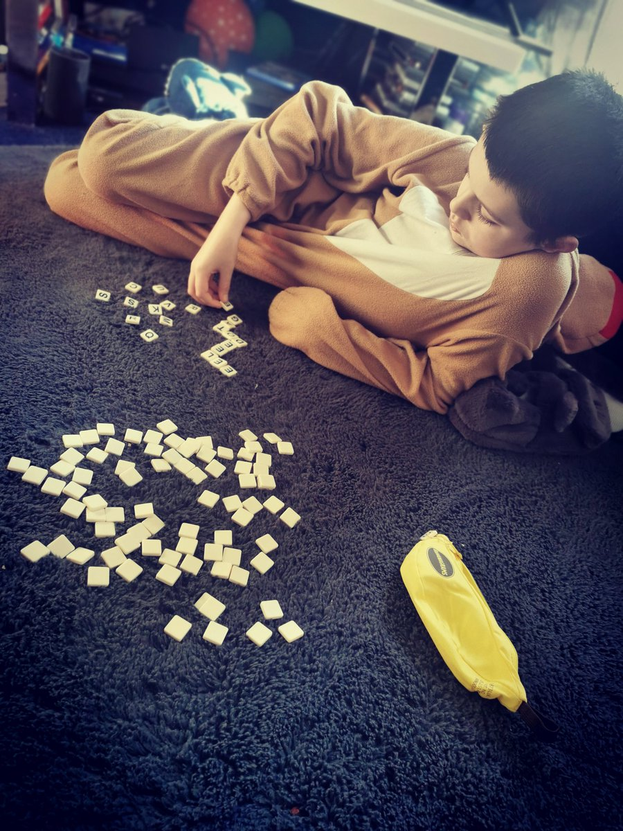 It's definitely a chilling out kind of day with a bit of banangrams and scrabble. 😊🍌 #familytime #familyfun #sundayvibes #SundayFunday