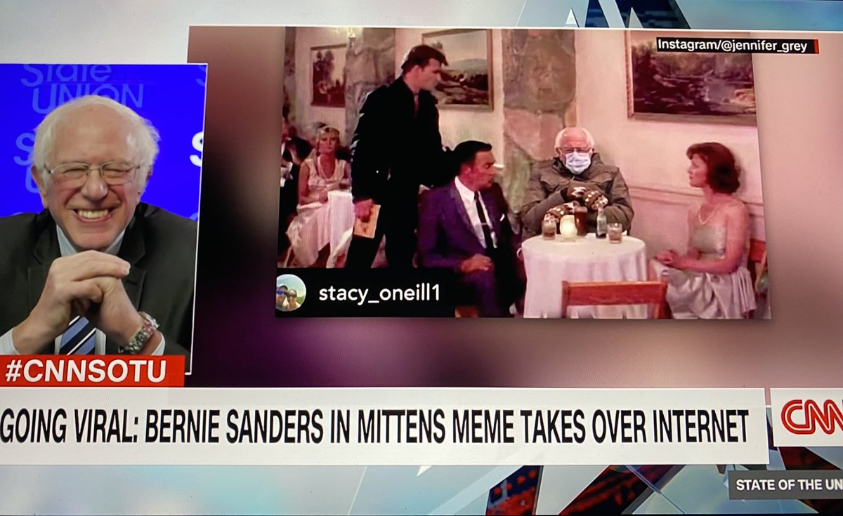 Meme Review with @BernieSanders and @DanaBashCNN on @CNNSotu ❤️🥺   #berniesmittens ❄️🧤 #sundayvibes  #BernieSandersmemes