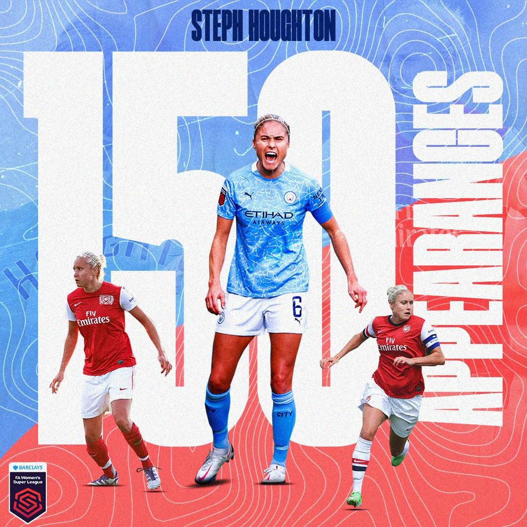 The first player to reach 150 #BarclaysFAWSL appearances ✨  Legend, @stephhoughton2.   👏 👏 👏