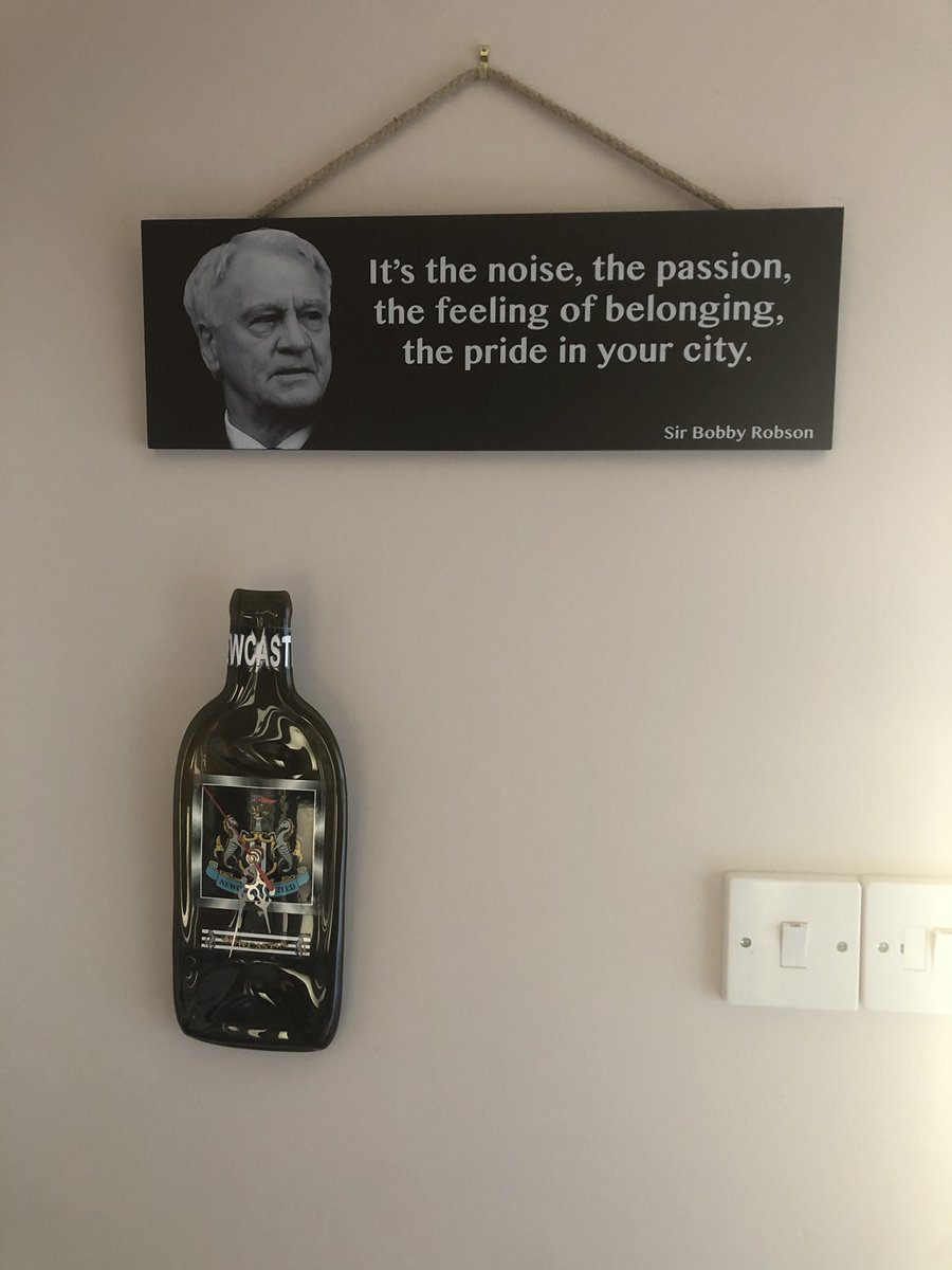 Hanging up in my Mam's utility room. Sir Bobby will be rolling in his grave looking at the state of our club right now. #ASHLEYOUT #BRUCEOUT #NUFC