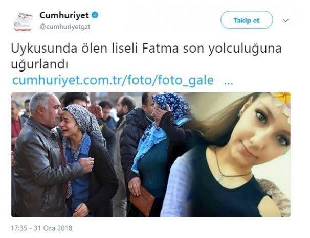 PKK'nın yatağında şehit ettiği 17 yaşındaki Fatma'nın haberini de böyle vermişlerdi.   Gerçekten tiksiniyorum artık. İnsan değilsiniz. @cumhuriyetgzt