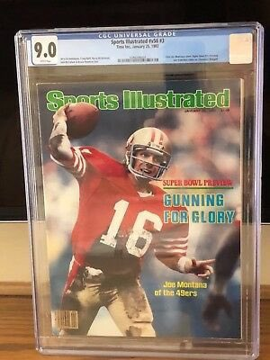 Today in 1982 Joe Montana and the 49ers beat the Bengals in Super Bowl XVI.  This is Joe's first cover appearance on Sports Illustrated shown here graded at 9.0 #nfl #NFLPlayoffs #49ers #sundayvibes #SundayMorning #packers #Buccaneers #ChiefsKingdom #BillsMafia #cgc #psa10 #rc
