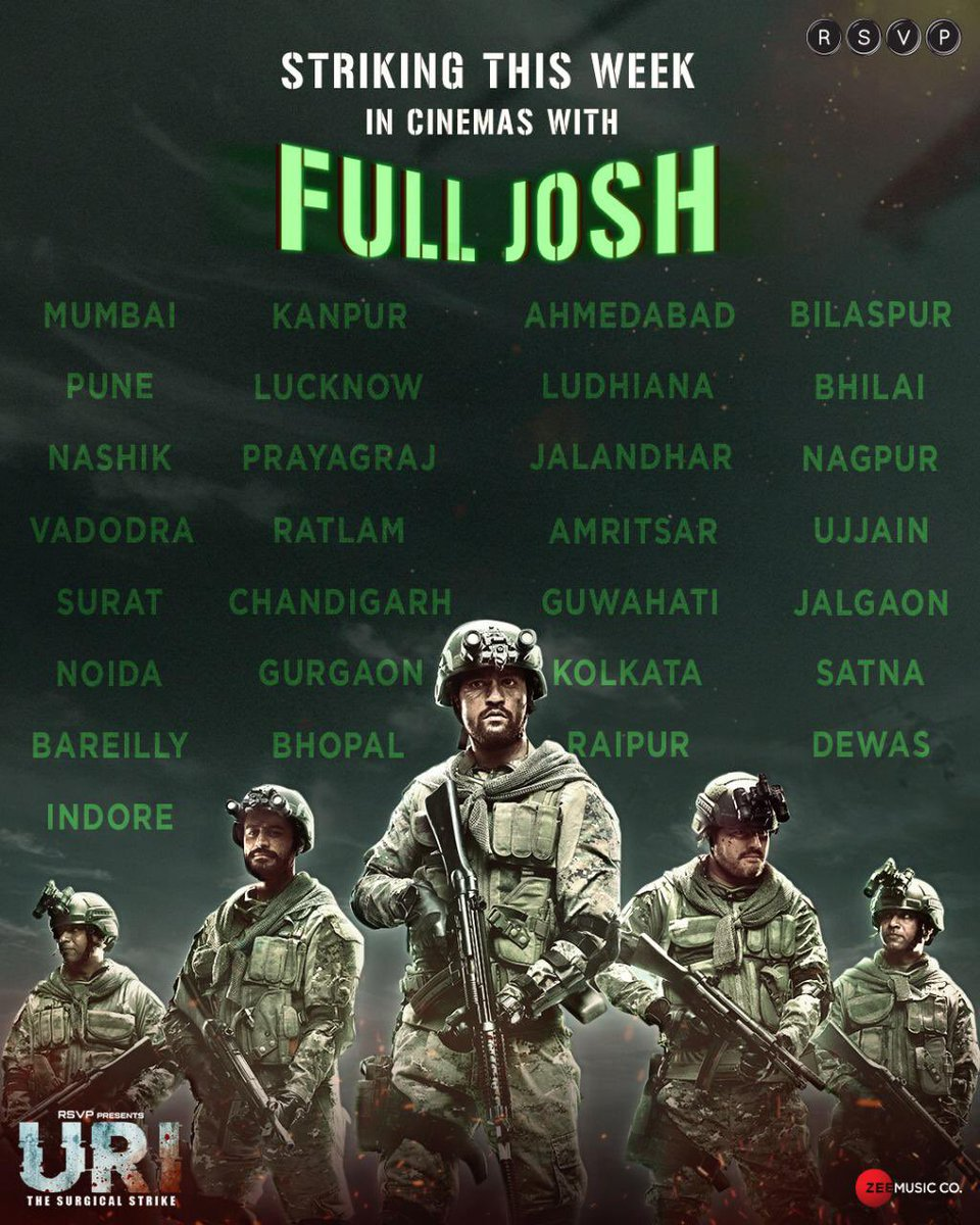 This #RepublicDay , let's keep our Josh high as we salute our brave soldiers. Watch #UriTheSurgicalStrike once again, in cinemas near you. Book now:    @vickykaushal09 @yamigautam @SirPareshRawal @RonnieScrewvala @AdityaDharFilms @soniakanwar22