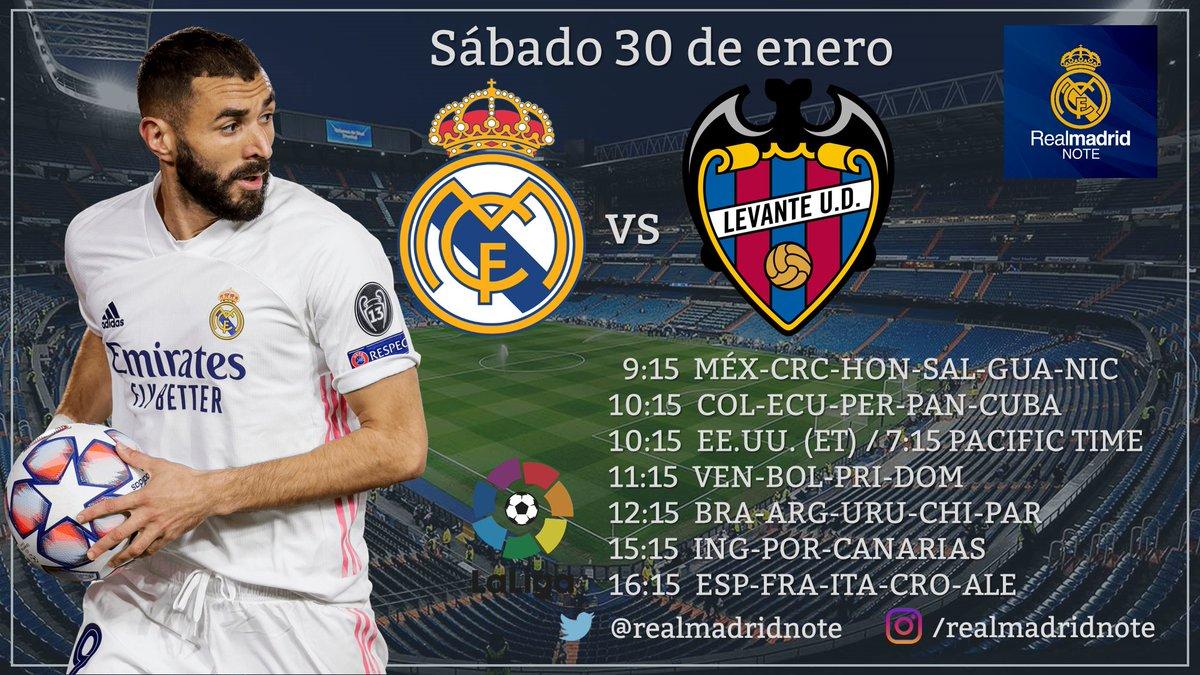 ⭐ 𝙋𝙍𝙊𝙓𝙄𝙈𝙊 𝙋𝘼𝙍𝙏𝙄𝘿𝙊 ⭐ ⚽️ Real Madrid 🆚 Levante 📆 Sábado 30 de enero ⌚️ 16:15 (Esp)  🏆 La Liga #RMLiga  ➕ Sigan @realmadridnote  ¡🔁 RT y ❤️ Like para que se enteren todos los madridistas!