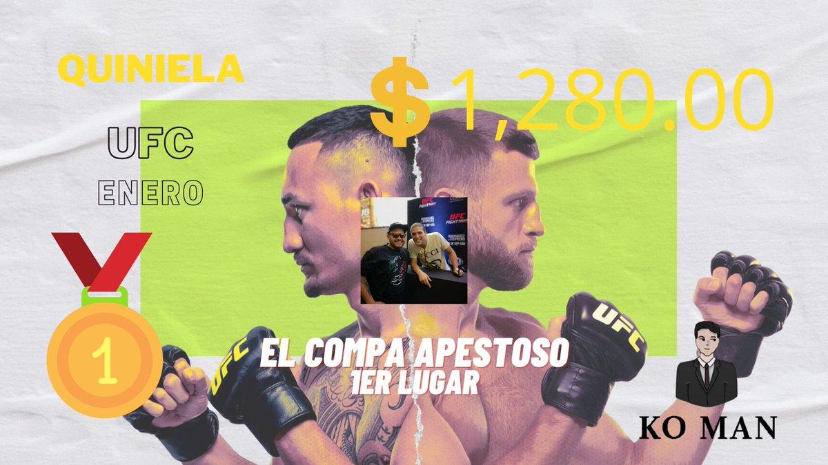 Ya tenemos GANADOR de la 1er QUINIELA KO MAN de #UFC 🏆  @litroskarl se lleva $1,280 y decide dejar $280 para que se acumule un mejor premio para febrero 😮  Gracias a los participantes nos vemos el siguiente mes y aquí les comparto la lista de premios. @CarlosA0527 @Johnny_MC89