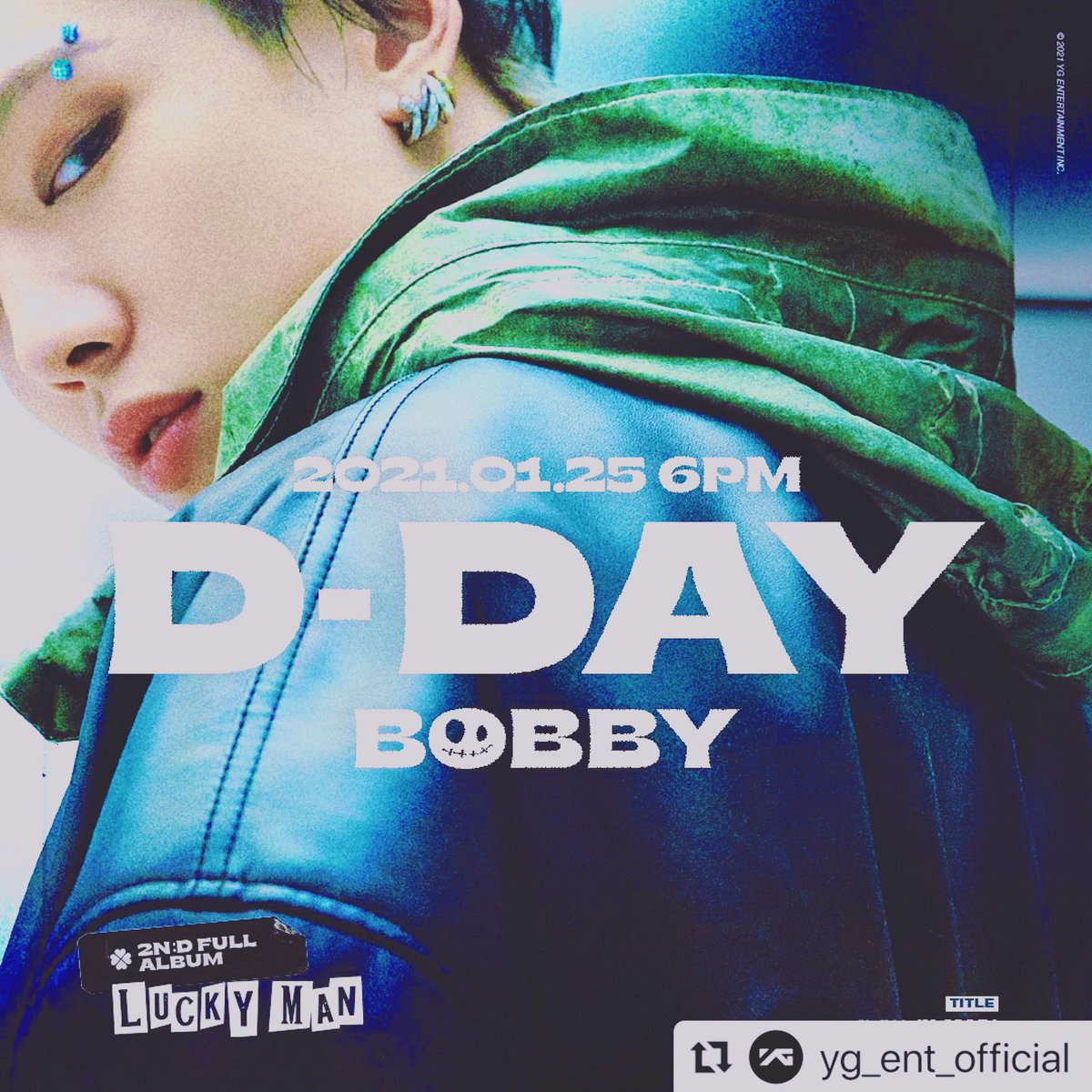 #Repost @yg_ent_official with @make_repost ・・・ ⠀ BOBBY [LUCKY MAN] D-DAY POSTER ⠀ 'LUCKY MAN' RELEASE ▶️2021.01.25 ⠀ #BOBBY #바비 @bobbyindaeyo #iKON #아이콘 @withikonic #YG