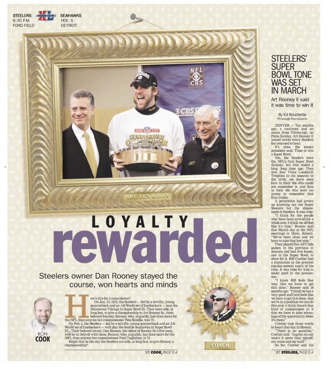 15 years ago (1/24/06): Rooneys' leadership key to #Steelers' Super Bowl run. #HereWeGo