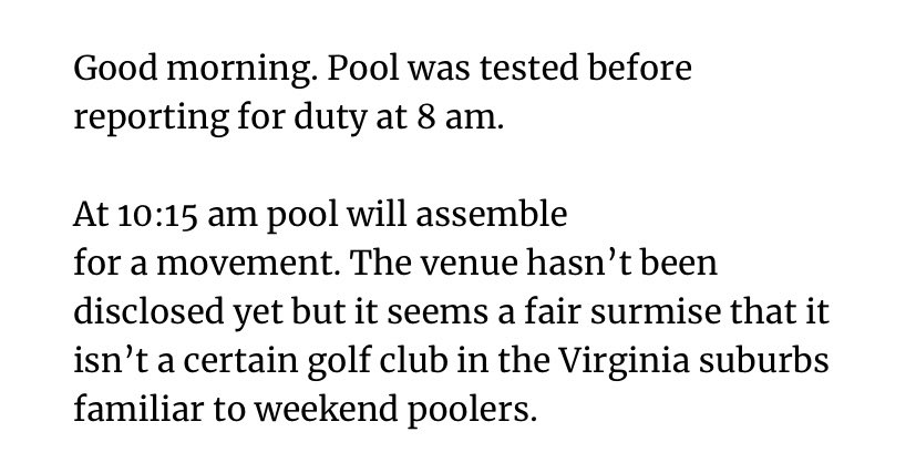 Replying to @farhip: From today's first White House press-pool report: