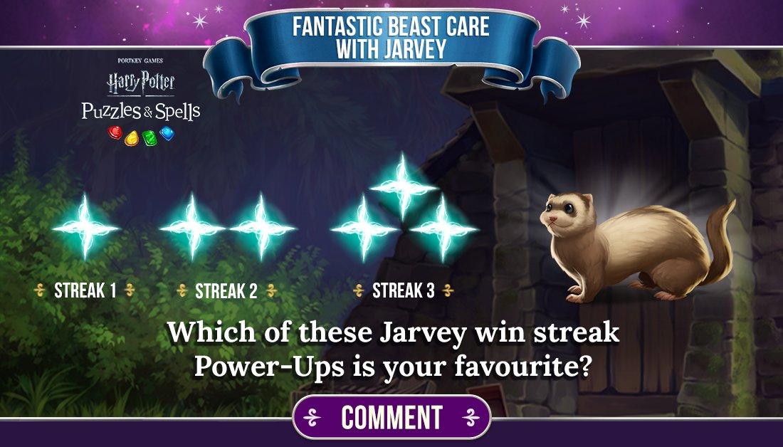 Two-way Severing Surges are part of Jarvey's win streaks. Comment below with your favourite! (We have a guess at which one you will like best...)  Complete consecutive puzzles to earn a win streak NOW ➡️   #PuzzlesAndSpells #FantasticBeastCare #Jarvey