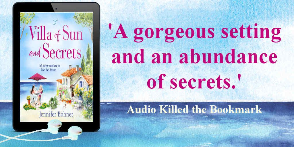 """A gorgeous setting and an abundance of secrets."" says @AudioKilledTBM about Villa of Sun and Secrets by @jenniewriter     Villa of Sun and Secrets Audiobook is available now ➡️"