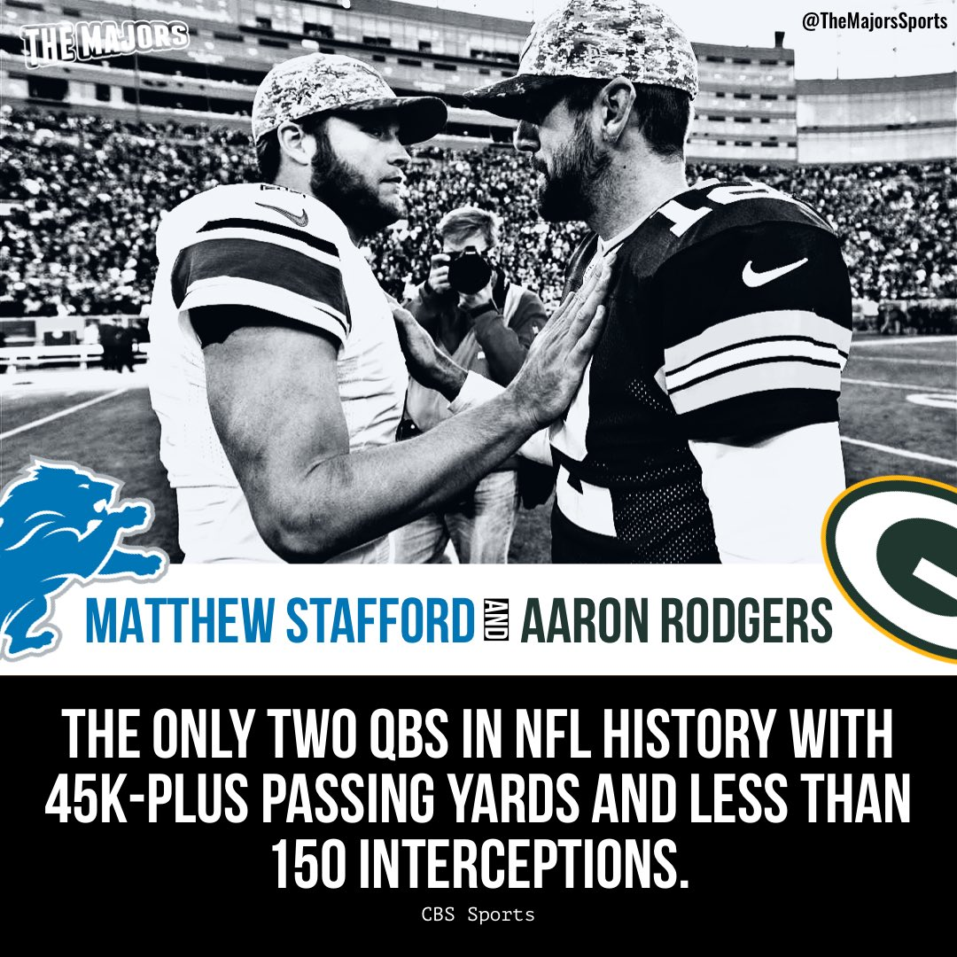 😲 Matthew Stafford and Aaron Rodgers are the only two QBs in NFL history with 45K-plus passing yards and less than 150 interceptions.  #Lions | #Packers | #NFL  ➡️ CBS Sports