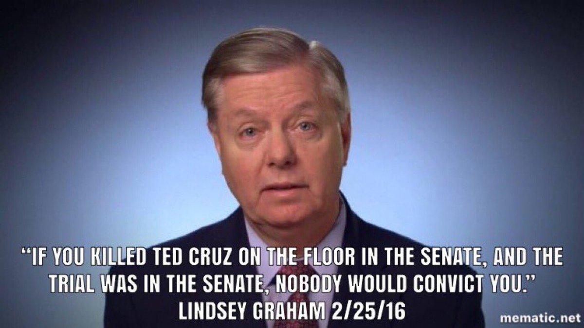 Good Lord MAGA even Trump's lapdog Lindsey hates Ted Cruz. No one likes Ted Cruz.  #SethRoganlovesTedCruz