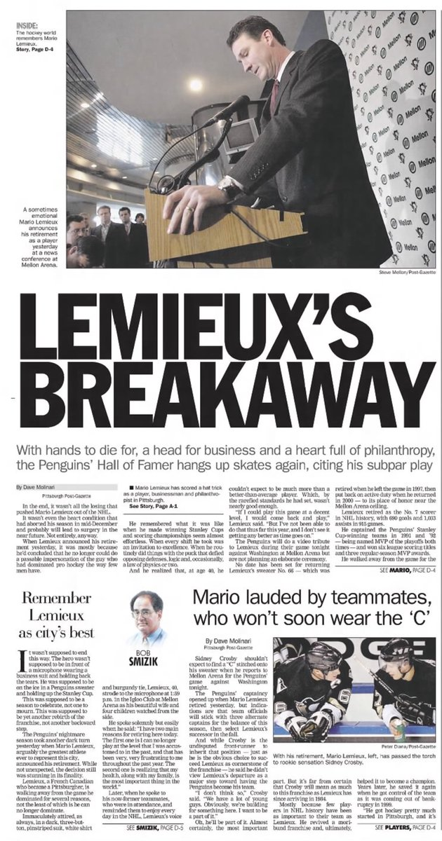 Additional Pittsburgh Post-Gazette coverage of the retirement announcement: