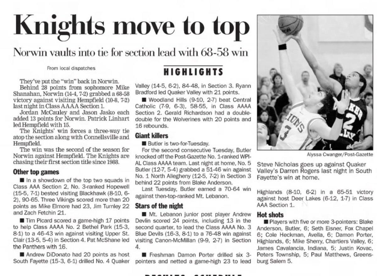 15 years ago (1/24/06): Norwin beats Hempfield, 68-58. #WPIAL