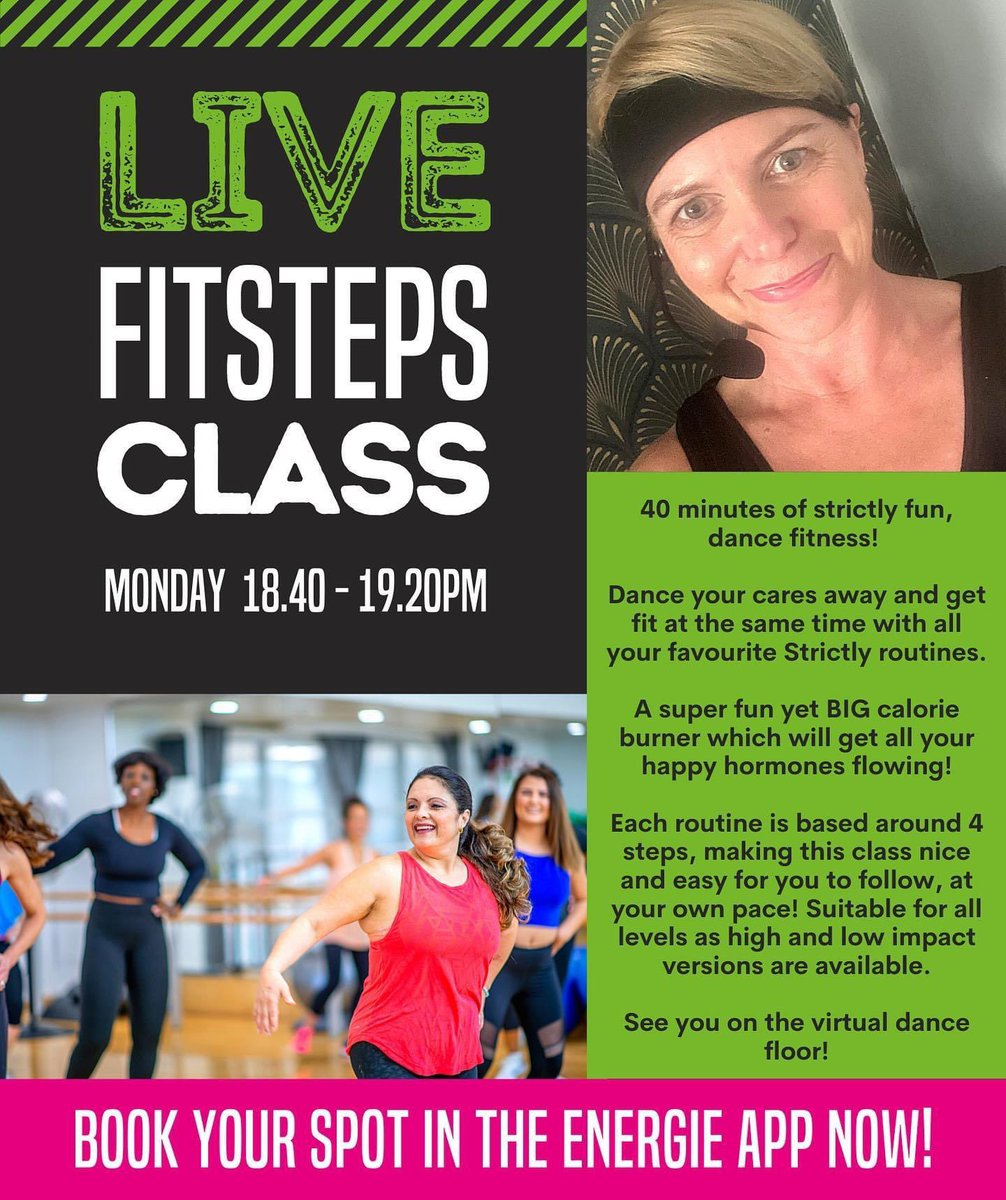 Calling all Engerie Members! Don't forget to to book in on the app for FitSteps tomorrow at 6.40 pm! See you on the virtual dance floor #energiefitness #members #gymlife #booknow #app #mondaymotivation #fitsteps #dance #fitness #exercise #letsdothis 💃🏼@EnergieClubsUK