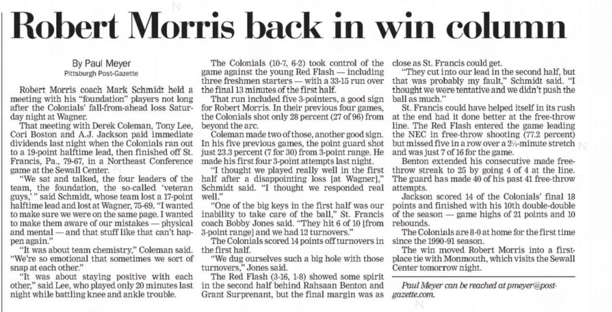15 years ago (1/24/06): #RobertMorris beats St. Francis, 79-67. #ColonialPride