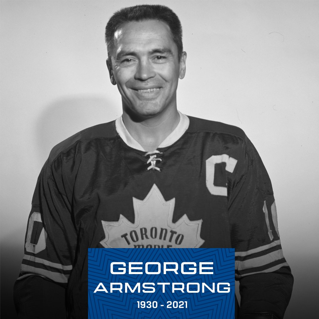 The @leafsalumni are saddened to learn of George Armstrong's passing earlier today. George spent his entire NHL career with the @mapleleafs, served as captain for 12-seasons and won four Stanley Cups before being inducted into the @HockeyHallFame in 1975. #TMLA #LeafsForever https://t.co/FY3Z6RWAO8
