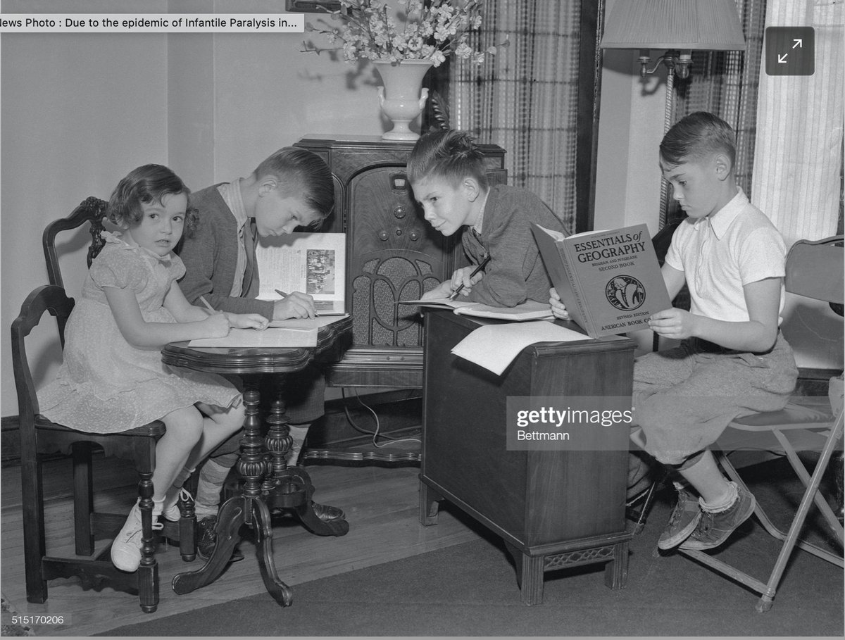 Ive been sharing this amazing picture on Zoom class visits — kids remote learning during a polio outbreak in the 1940s. Schools shut and teachers read lessons on the RADIO. Were facing such challenges today, but as I tell kids, weve faced them in the past and gotten through.