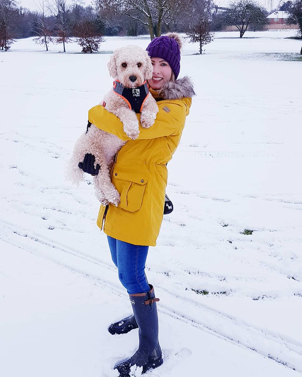 We finallllllly got a snow day 😆☃️❄🥳 Louie LOVES the snow!! He's like a mini polar bear 🐶🥰  Have you guys had snow yet? 👀❄☃️  #snowday #snow #countryside #Dog