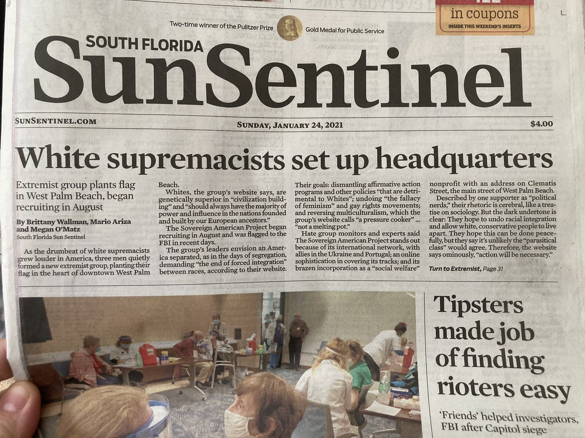 Top story in the South Florida Sunday paper is about a white supremacist group setting up an office on Clematis Street in WPB, a short drive from the residences of a certain former president and a certain right-wing radio shock jock