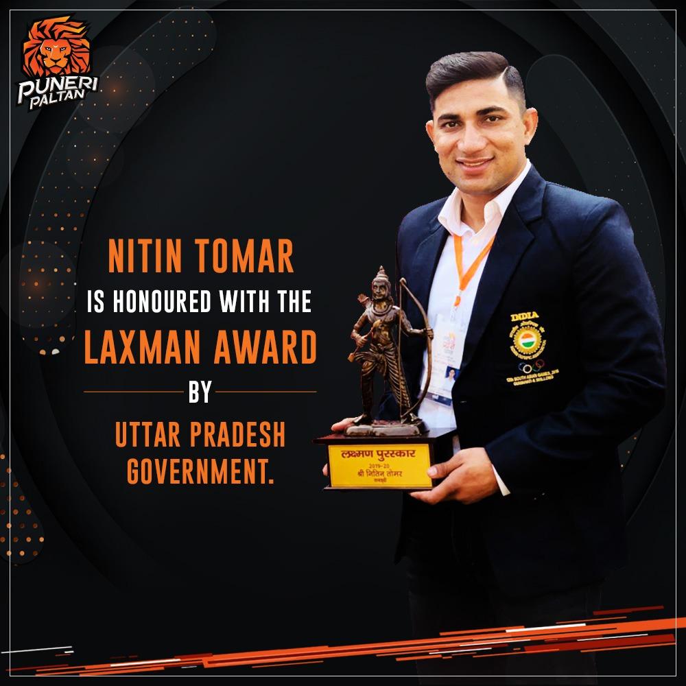 Congratulations to @NITINKABADDI for being awarded with the prestigious #LaxmanAward by the U.P. government. 🏆💯 . . #PuneriPaltan #BhaariPaltan #Gheuntak #kabaddi #LaxmanAward