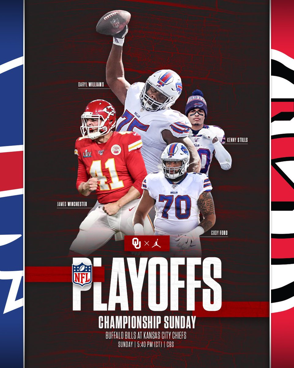 Best of luck to our #Sooners this Championship Sunday. 📺 #BUFvsKC at 5:40pm CT on CBS #NFLPlayoffs #OUDNA