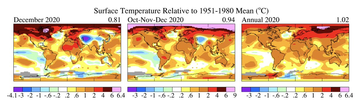 Surface air temperature anomalies over the last month (left), 3 months (center), 12 months (right)... As usual, check out the #Arctic 🥴  + Maps created by https://t.co/in4ttxkobq https://t.co/TIEdjHzsIU