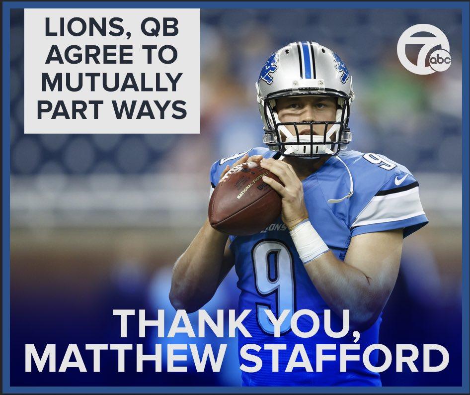 Morning and mourning. #ThankYou9 @Lions #MatthewStafford #Detroit #BestWishes #MichiganWillMissYou