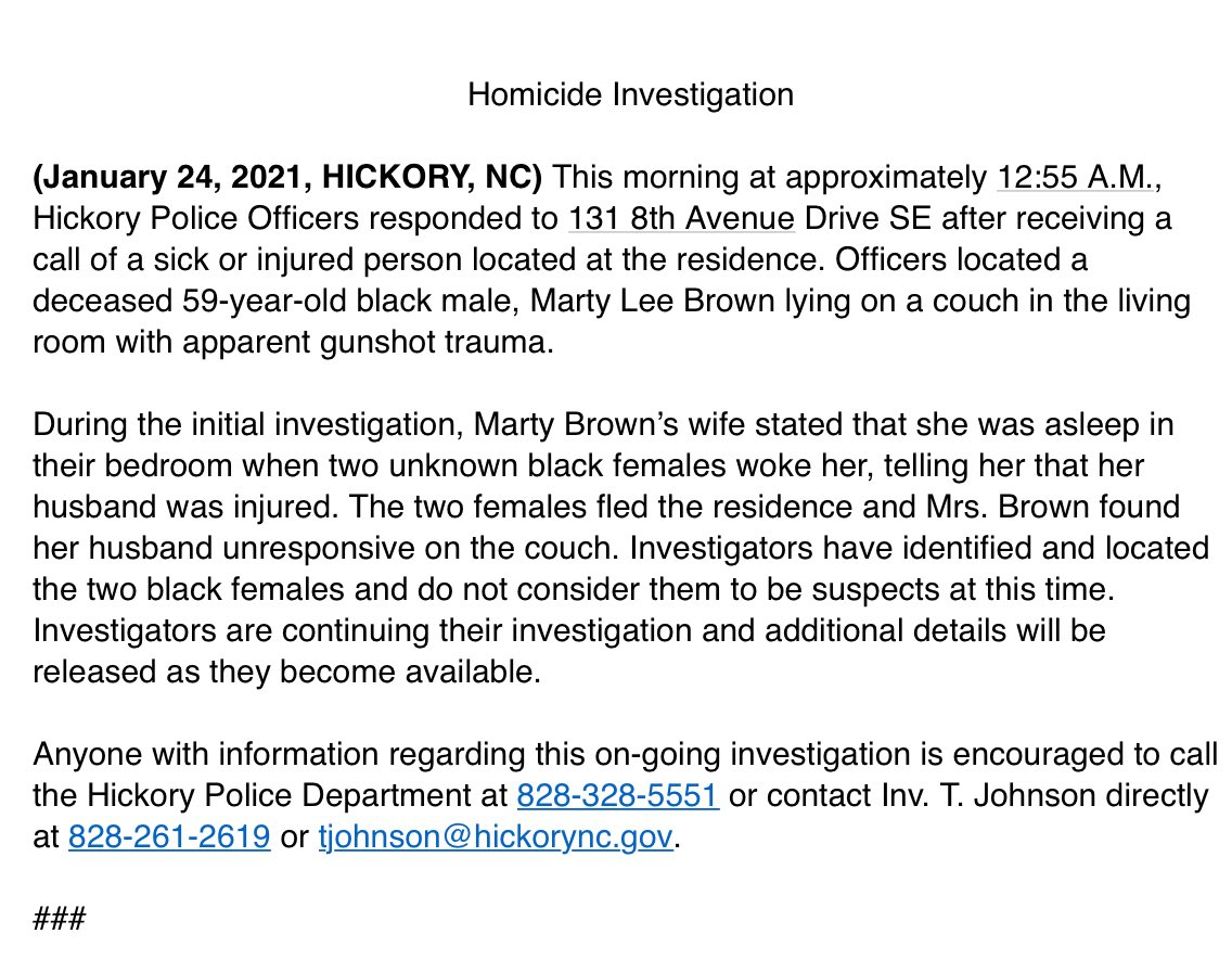 #Breaking This is all that's being released so far on the shooting death in Hickory. If you can help, make the call.