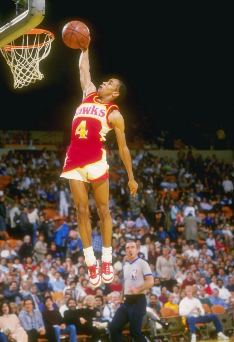 """5'7"""" Spud Webb won the NBA Slam Dunk Contest in 1986 AS A ROOKIE, defeating future 9x All-Star, 2x Slam Dunk champ, and 6'9"""" teammate Dominique Wilkins in the final  We stan..."""