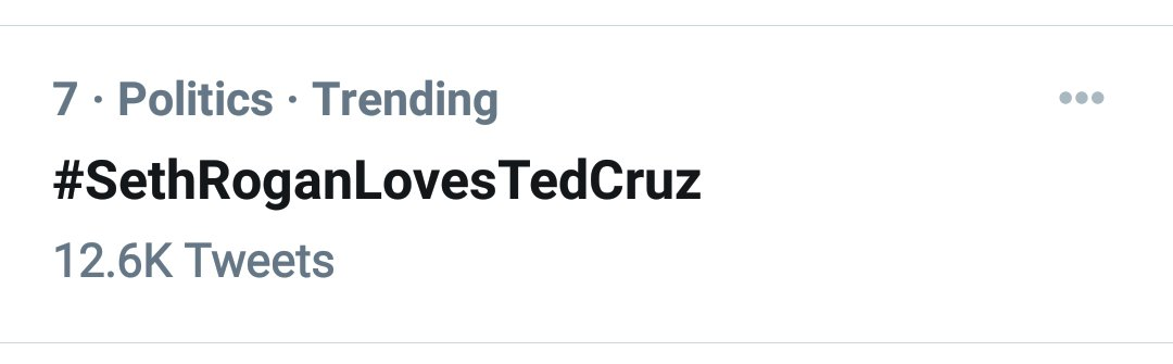 #SethRoganLovesTedCruz trending #7 😂 😂 😂 😂