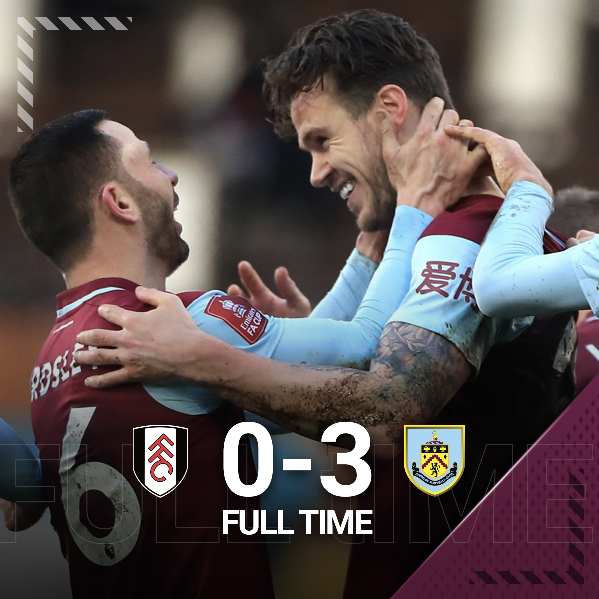 It's all over at Craven Cottage. 🤩  The Clarets book their spot into the fifth-round with a solid performance in London. 👊  #FULBUR | #UTC | #EmiratesFACup