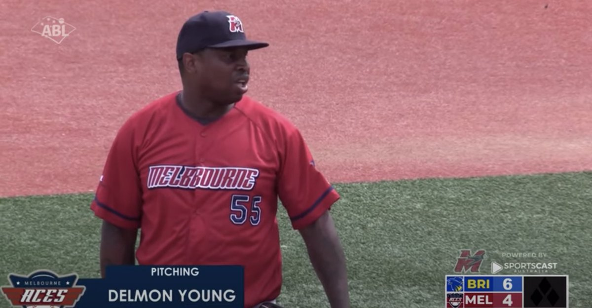 While you were sleeping... (or maybe not)  In a land down under, Delmon Young was a....  (•_•)  <)   )╯POSITION  /    \     \(•_•)    (   (> PLAYER  /    \   (•_•)   <)   )> PITCHING  /    \   (via our good friends at @ABL)