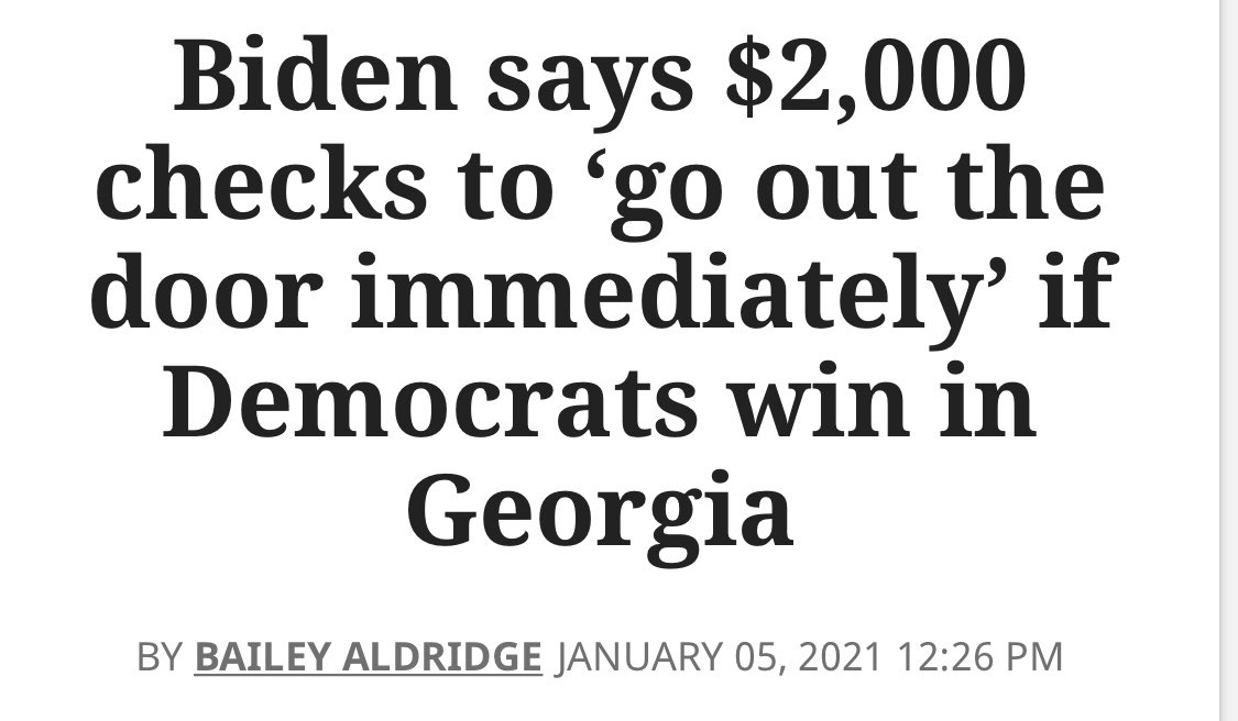 Replying to @WaitingOnBiden: Today is the 5th day that $2,000 checks have not gone out the door immediately.