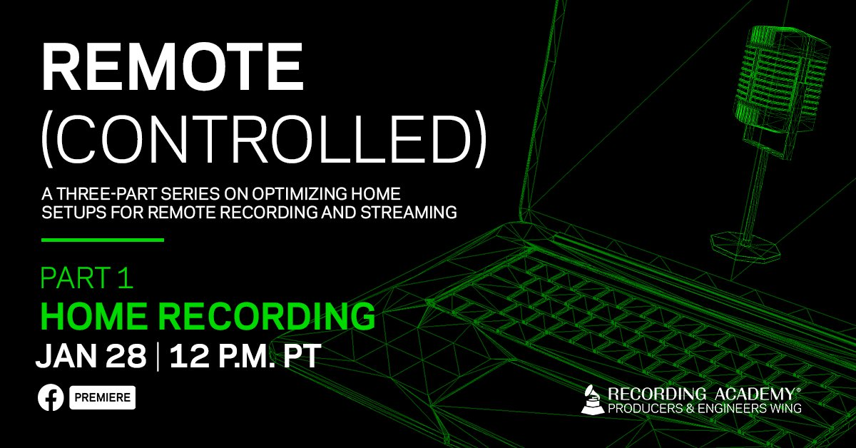 ➡️ Looking to explore the best setup techniques from the artists' point of view?  Watch our Remote Controlled Part 1, focusing on home #recording for the vocalist and acoustic percussionist.   🗓 Thursday, January 28 ⏰ 12pm PT 📲 RSVP: