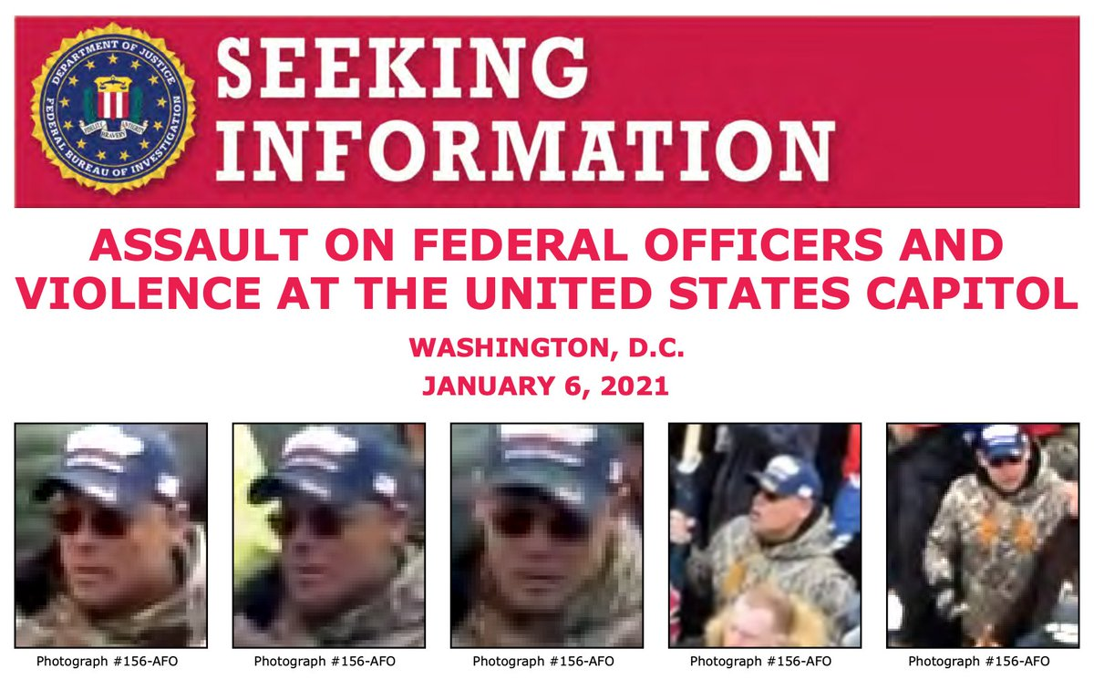 The #FBI is seeking to identify individuals who assaulted federal officers at the U.S. Capitol on January 6. If you recognize this man, submit a tip to https://t.co/iL7sD5efWD. When providing a tip on the images, please refer to photograph 156. @FBIWFO https://t.co/CFbDd0YjRn https://t.co/ZtMfp283x8